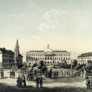 Jan F. Piwarski, The Kazimierzowski Palace with side wings, a lithograph, 1824, the National Museum in Warsaw