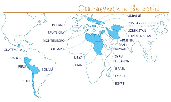 """Map """"Our presence in the world"""" (open in a new window)"""