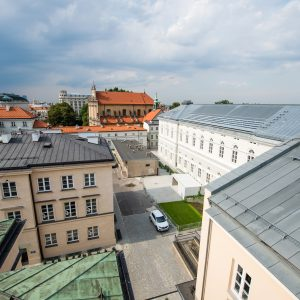 Historical Main Campus of the UW and the panorama of Warsaw.