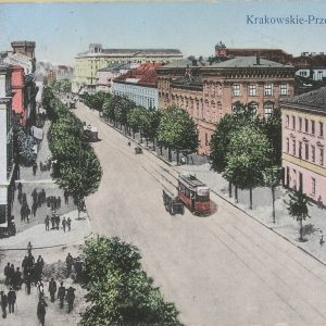 The view into Krakowskie Przedmieście Street, the beginning of 20th century, postcard, The Ephemera Departament, UWL