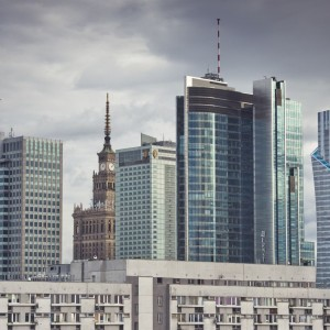 Modern buildings in the centre of Warsaw.