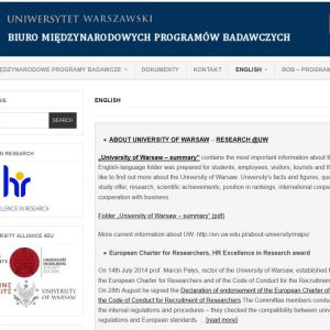 English website of the Office for International Research and Liaison (previously the Office of Research Administration): http://bmpb.uw.edu.pl/english