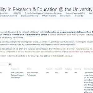 Mobility in Research and Education @ the University of Warsaw: https://mobility.project.uw.edu.pl/en