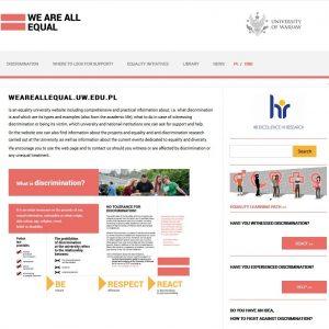We are equal: www.rownowazni.uw.edu.pl/en