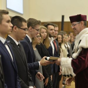 First-year students, graduate and doctoral students received student record books.