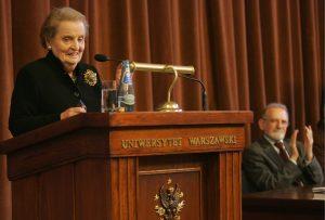 """Prof. Madeleine Albright as a guest at UW during ''Tischner Debate"""" (24.04.2008). Credit: Wojciech Olkuśnik/Agencja Gazeta"""