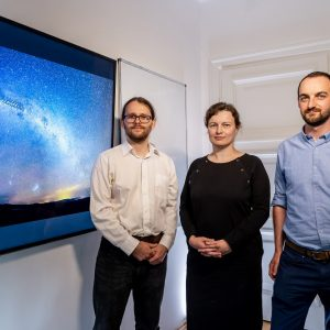 Scientists from the OGLE team which constructed a unique three-dimensional map of the Milky Way: Dr. Jan Skowron, Dr. Dorota Skowron, Przemek Mróz (left-to-right)