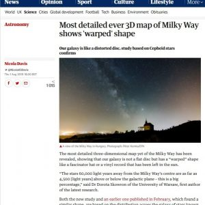 UK, The Guardian: https://www.theguardian.com/science/2019/aug/01/most-detailed-ever-3d-map-of-milky-way-shows-warped-shape-cepheid