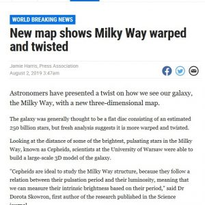 Australia, Herald Sun: https://www.heraldsun.com.au/news/breaking-news/new-map-shows-milky-way-warped-and-twisted/news-story/eca470fb2258e94a3014e53da9fb482b