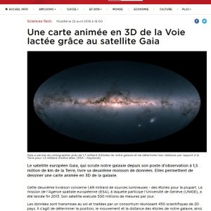 Switzerland, RTS: https://www.rts.ch/info/sciences-tech/9519853-une-carte-animee-en-3d-de-la-voie-lactee-grace-au-satellite-gaia.html