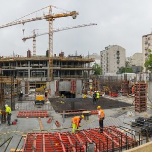 The construction works of the building at Dobra 55 (the second stage).