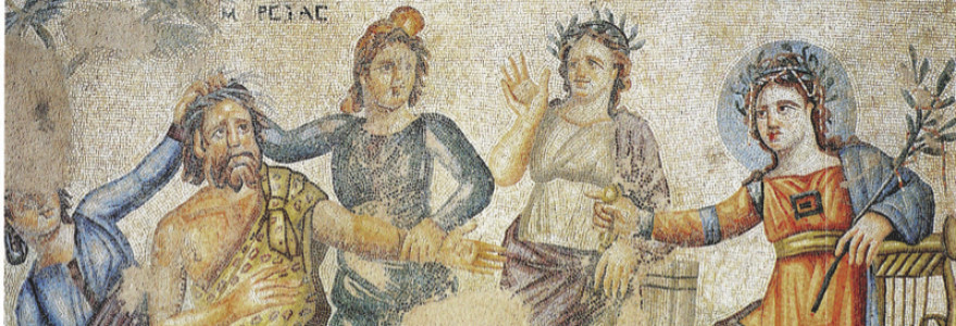 Mosaic from House of Aion in Paphos. The panel shows judgement of Marsyas, losing the music contest to Apollo. Credit: W. Jerke.