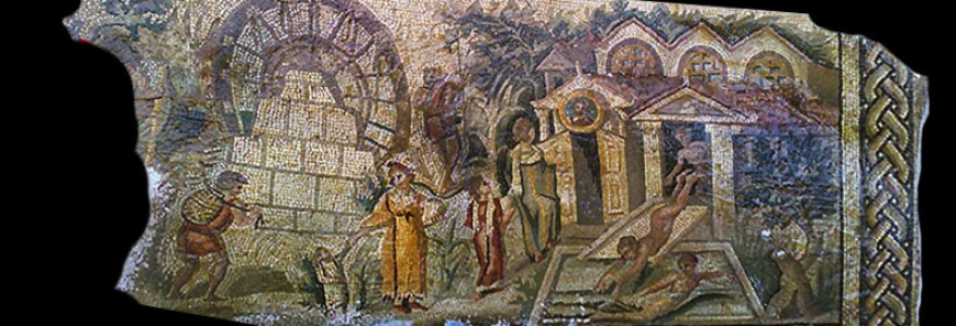 The famous historical mosaic from Apamea (Syria) was stolen in an illegal excavation in 2011. Actually, this masterpiece of Roman art is researched by Interpol. The lower register of the mosaic shows to date, the earliest representation of a water wheel (noria) in antiquity, dated to Constantine the Great (306-337 CE) time, which is around 150 years older than the previously known mosaic representation, also discovered at Apamea. Author unknown. Source: DGAM.
