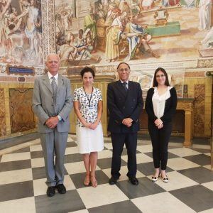 Photo taken in the Vatican Library. From the left: Dr. Ambrogio M. Piazzoni, Vice Prefect of the Vatican Apostolic Library; Prof. Katarzyna Mikulska, research project coordinator; Jaime Manuel del Arenal Fenochio, Ambassador of Mexico to the Holy See; Mariana San Martin Paz, Attaché of the Embassy of Mexico to the Holy See. Credit: Prof. Katarzyna Mikulska's archives.