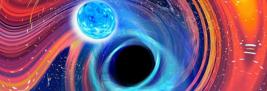 Artistic image inspired by a BHNS merger Artwork of a neutron star–black hole merger. Credit: Carl Knox, OzGrav-Swinburne University.